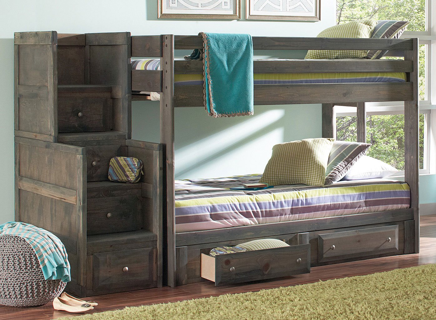 Wrangle Hill Twin Bunk Bed w/ Storage and Stairway Chest (Gun Smoke)