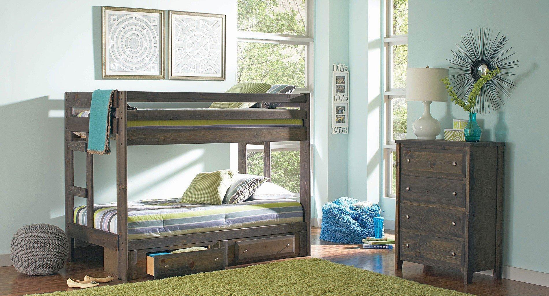 Wrangle Hill Bunk Bedroom Set (Gun Smoke)