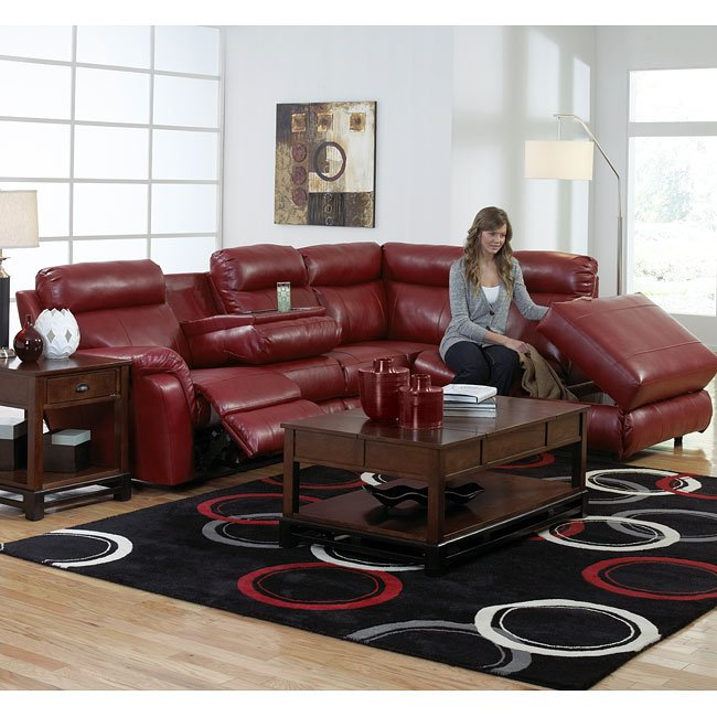 Chastain Reclining Sectional Red