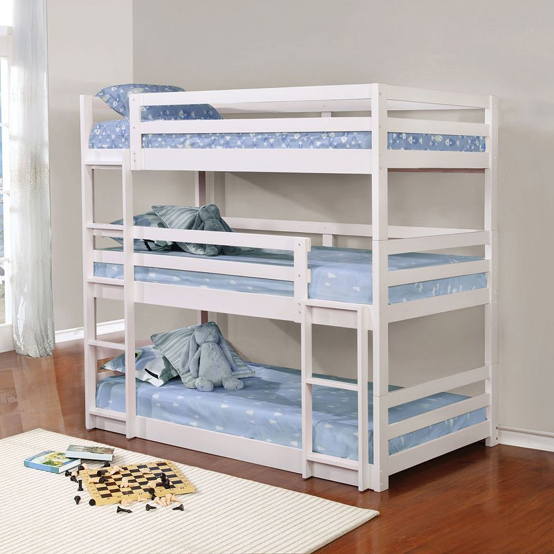 White Triple Twin Bunk Bed