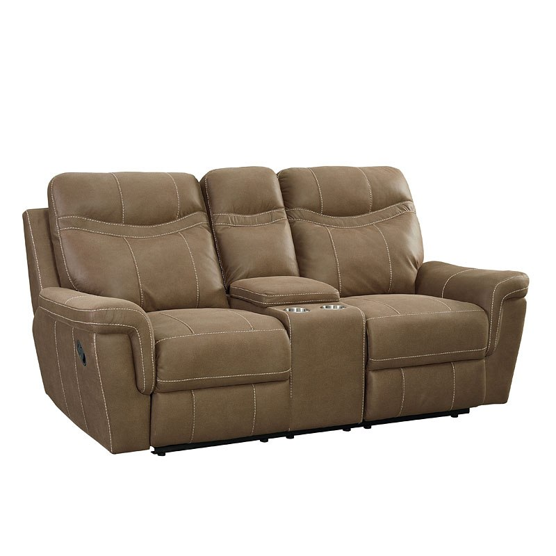 Fabulous Boardwalk Reclining Loveseat W Console Brown Pabps2019 Chair Design Images Pabps2019Com
