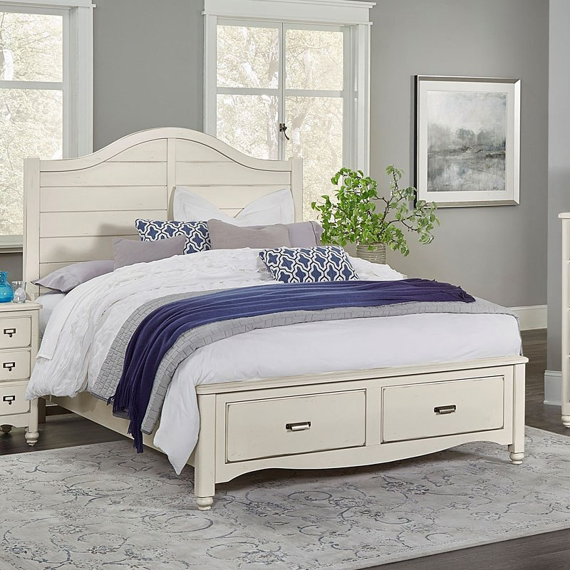 American Maple Shiplap Storage Bed Dusky White