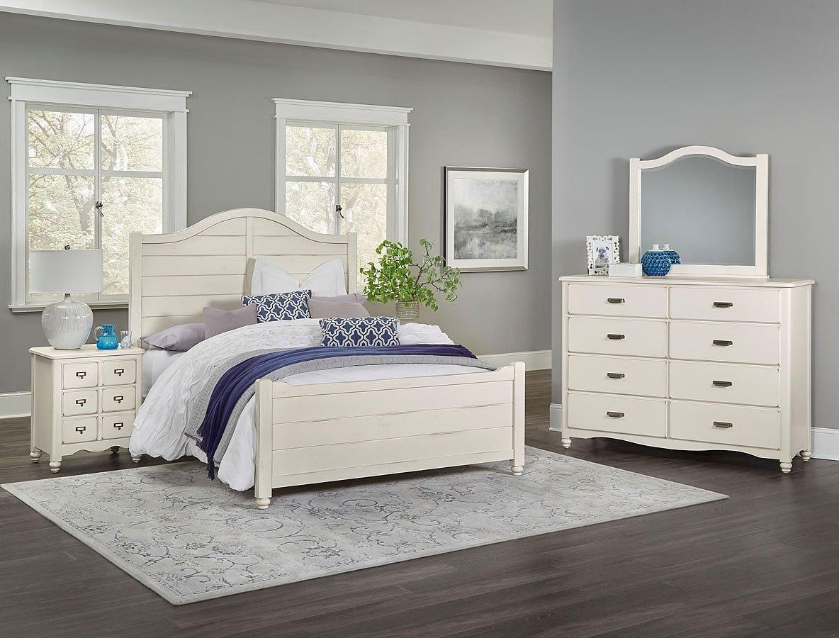 American Maple Youth Shiplap Panel Bedroom Set Dusky White Vaughan Bassett Furniture Cart