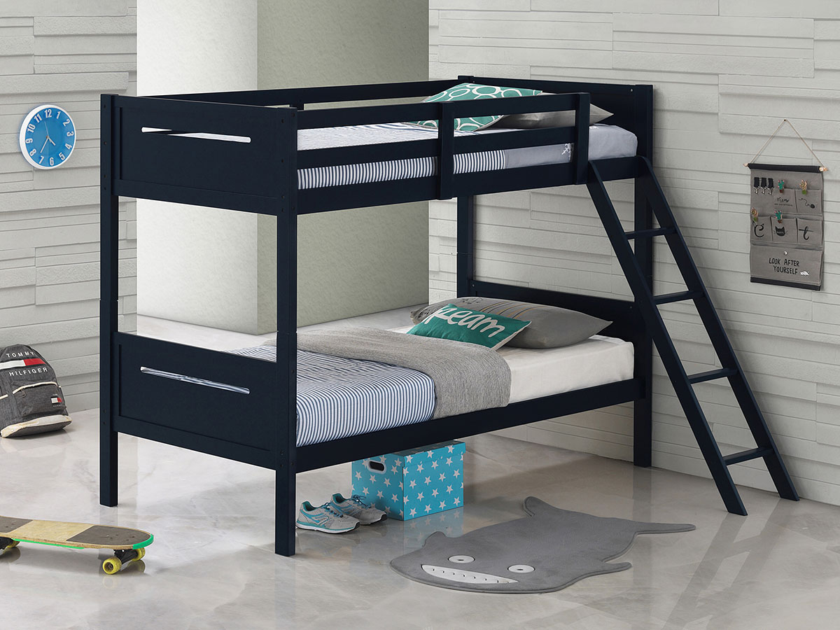 Picture of: Littleton Contemporary Twin Over Twin Bunk Bed Blue Coaster Furniture Furniture Cart