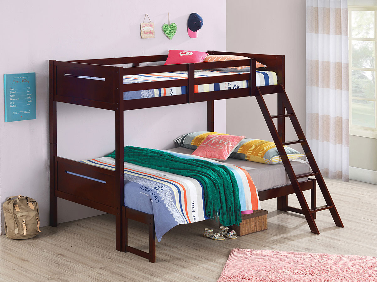 Picture of: Littleton Contemporary Twin Over Full Bunk Bed Espresso Coaster Furniture Furniture Cart