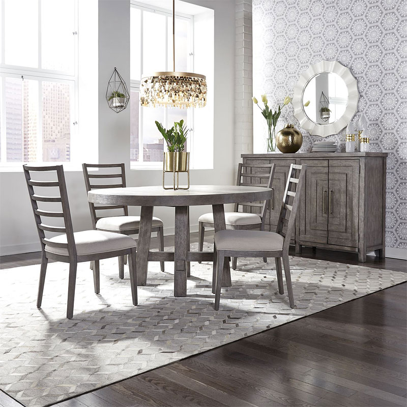 Contemporary Round Dining Room Sets: Modern Farmhouse Round Dining Room Set W/ Ladder Back