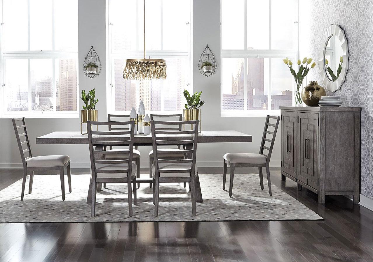 Modern Farmhouse Rectangular Dining Set W/ Ladder Back ...