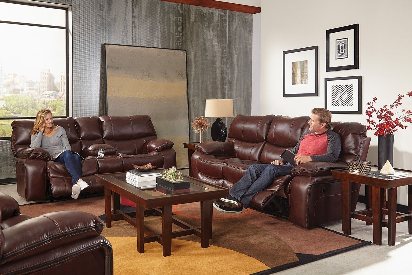 Camden Power Lay Flat Reclining Living Room Set Walnut