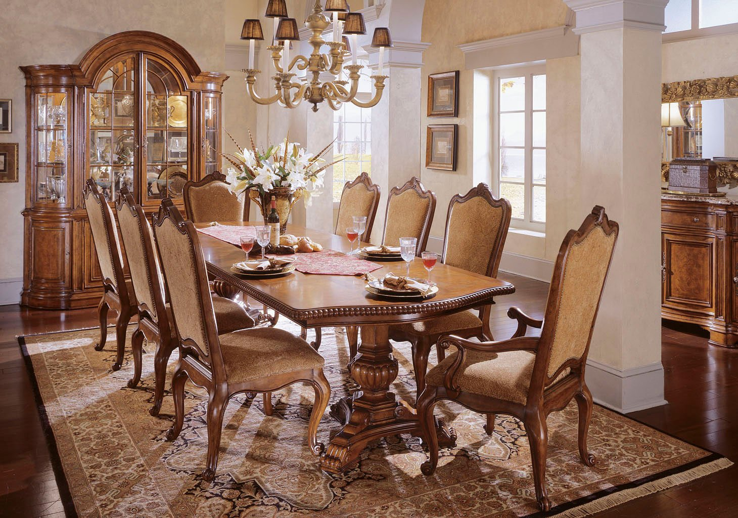 Villa Cortina Rectangular Dining Set W/ Upholstered Chairs