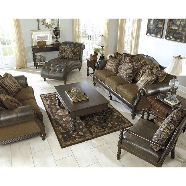 Teak Living Room Furniture: Glynallen Teak Living Room Set Signature Design