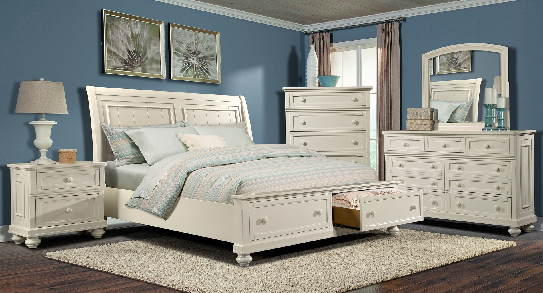 whittington white storage bedroom set klaussner