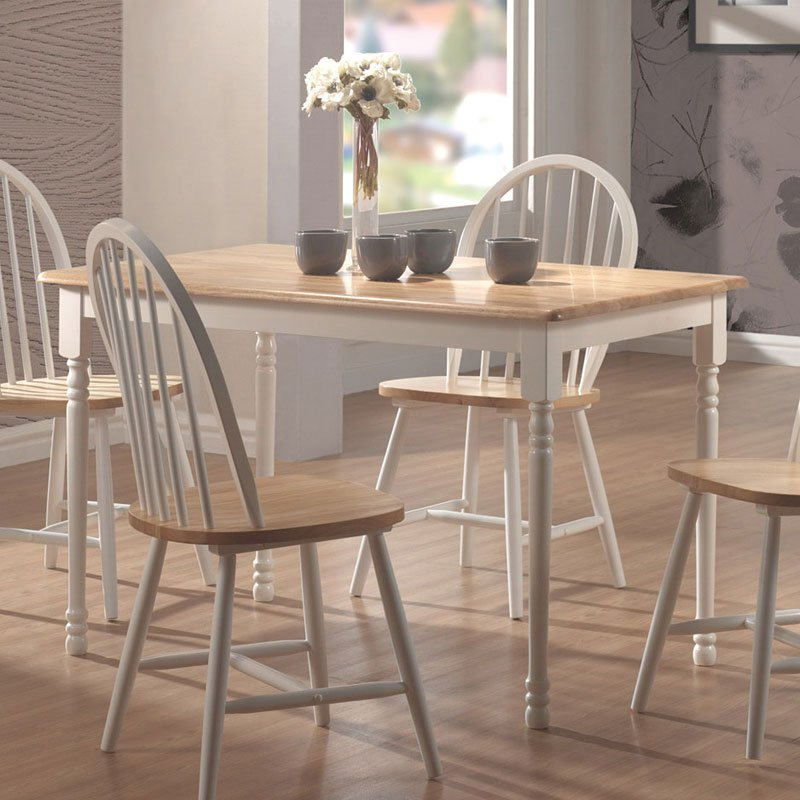 Awesome Damen Rectangular Dining Room Set W Lyre Back Chairs Natural White Pdpeps Interior Chair Design Pdpepsorg
