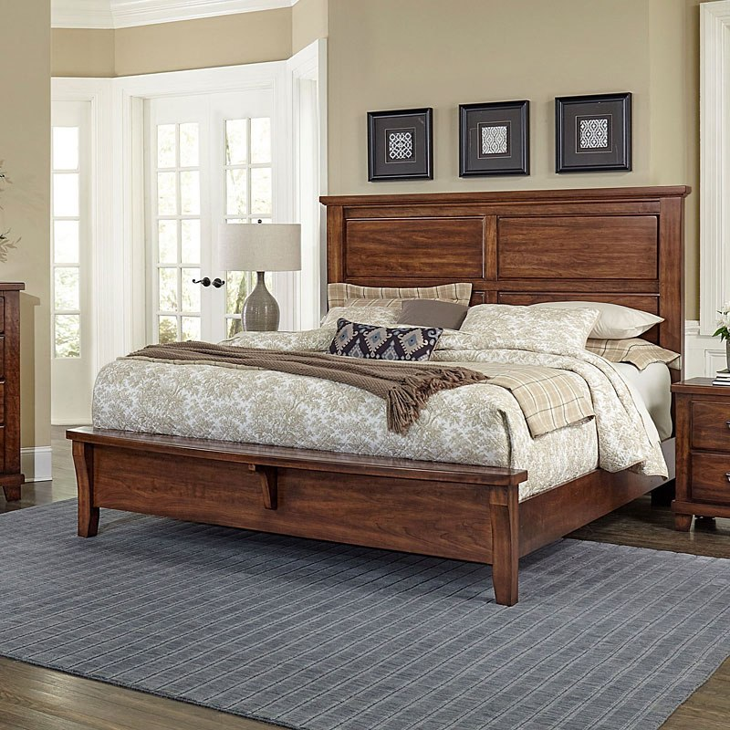 American Cherry Mansion Bench Footboard Bed Amish Cherry