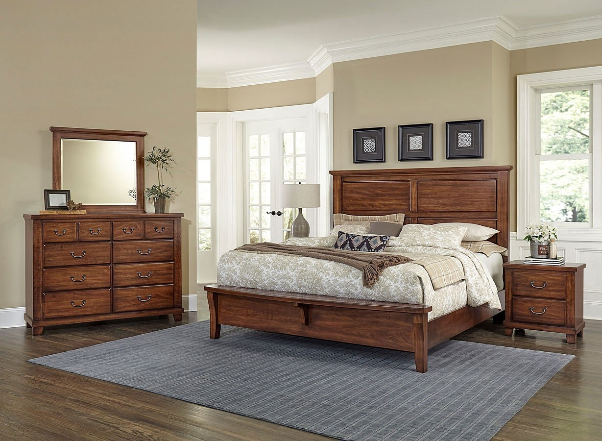 American Cherry Mansion Bench Footboard Bedroom Set Amish