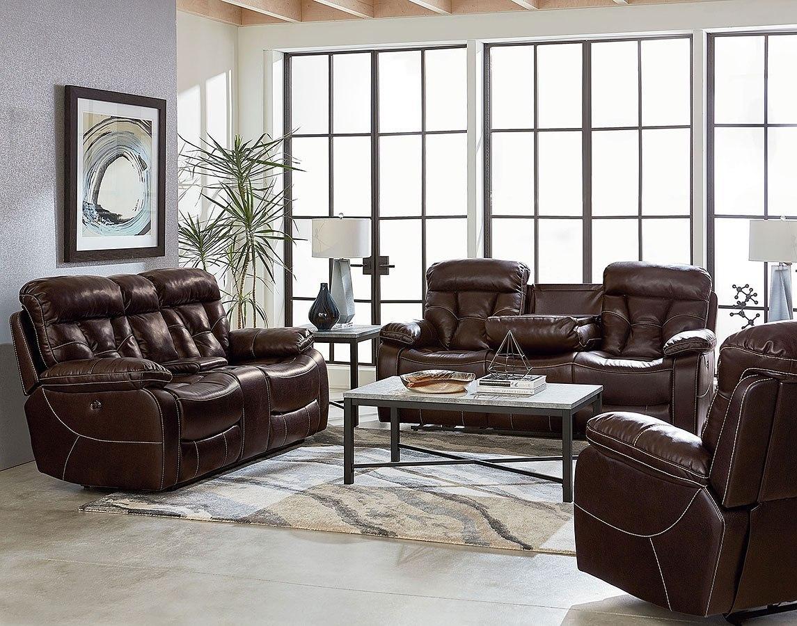 Peoria reclining living room set toffee standard - Living room recliner furniture sets ...