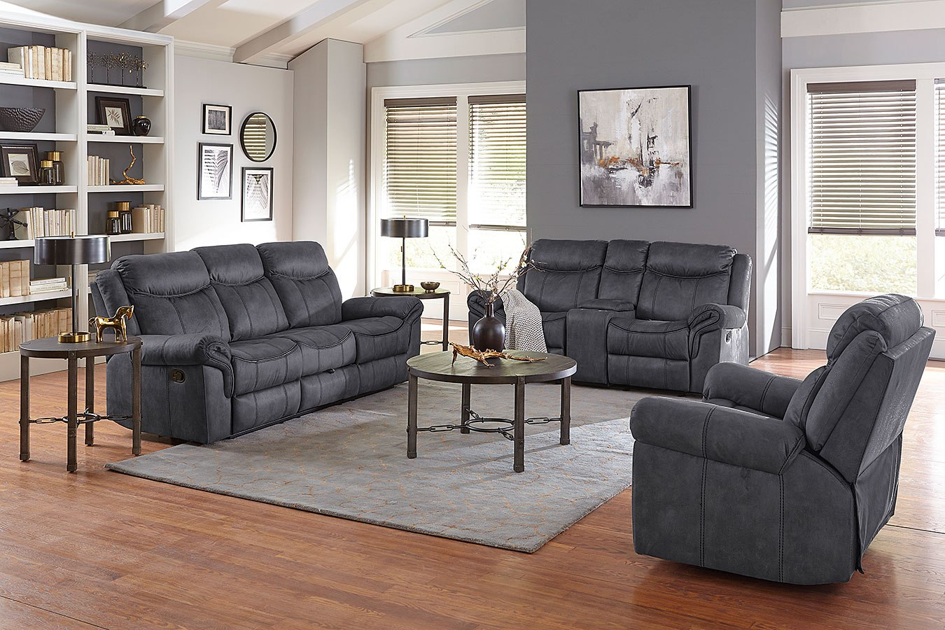 knoxville reclining living room set charcoal standard