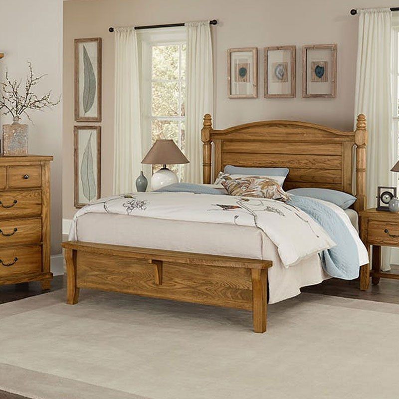 American Oak Poster Bench Footboard Bed Honey Oak Vaughan Bassett Furniture Cart