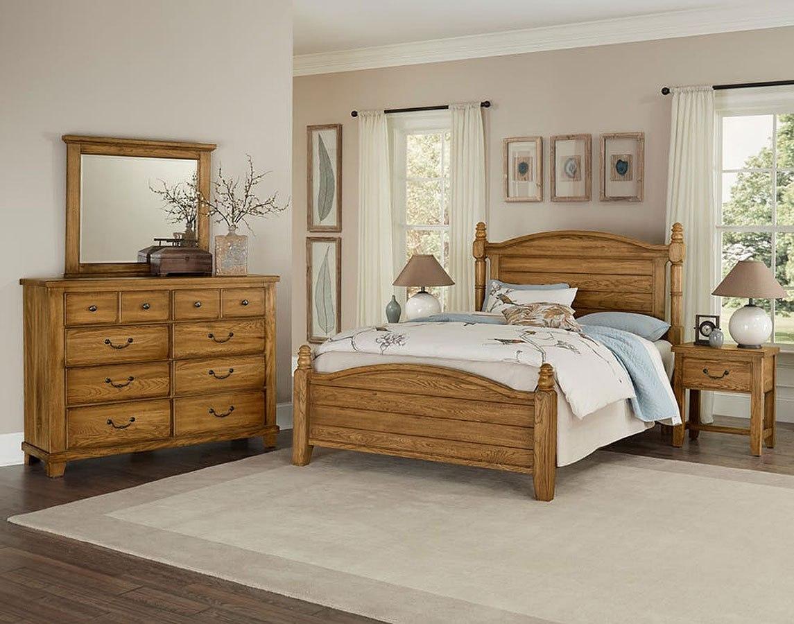 American Oak Poster Bedroom Set Honey Oak Vaughan Bassett Furniture Cart