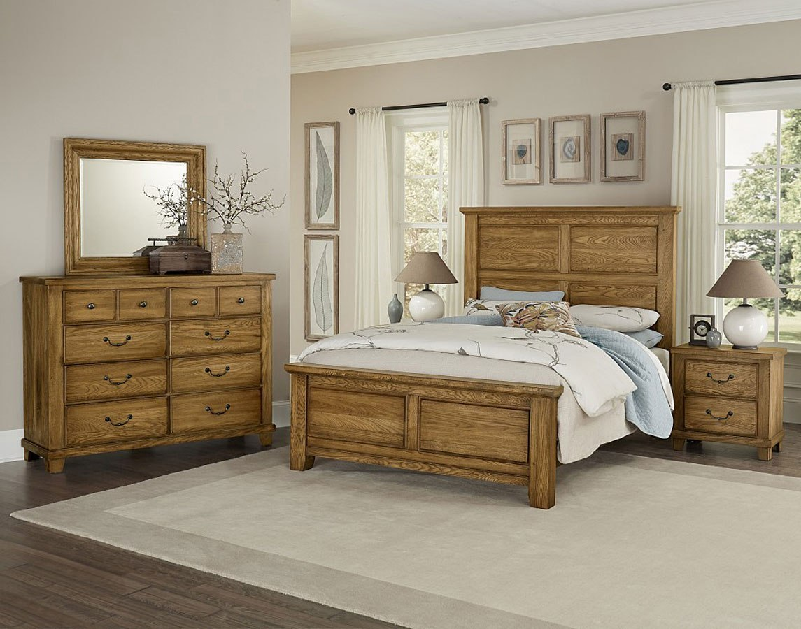 American Oak Mansion Bedroom Set Honey Oak Vaughan Bassett Furniture Cart
