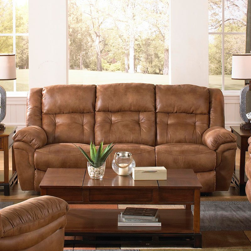 Joyner Lay Flat Reclining Sofa w/ Drop Down Table (Almond)