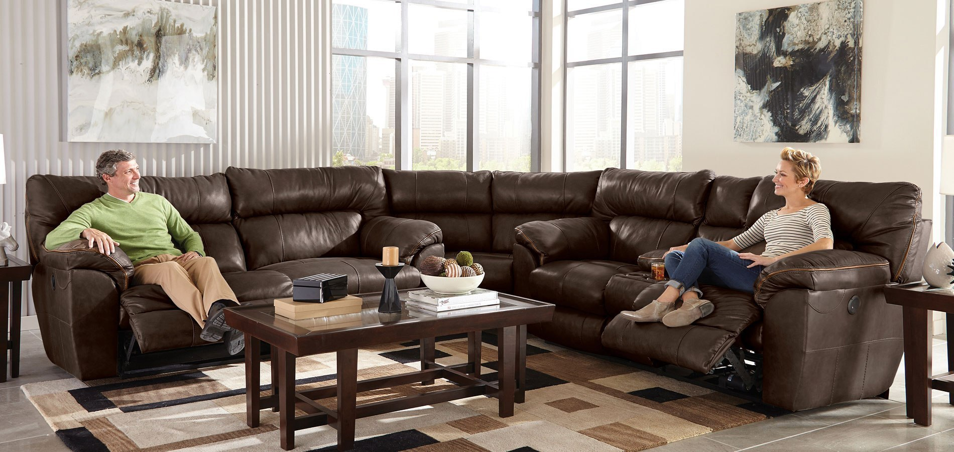 Milan Lay Flat Reclining Sectional Chocolate Catnapper
