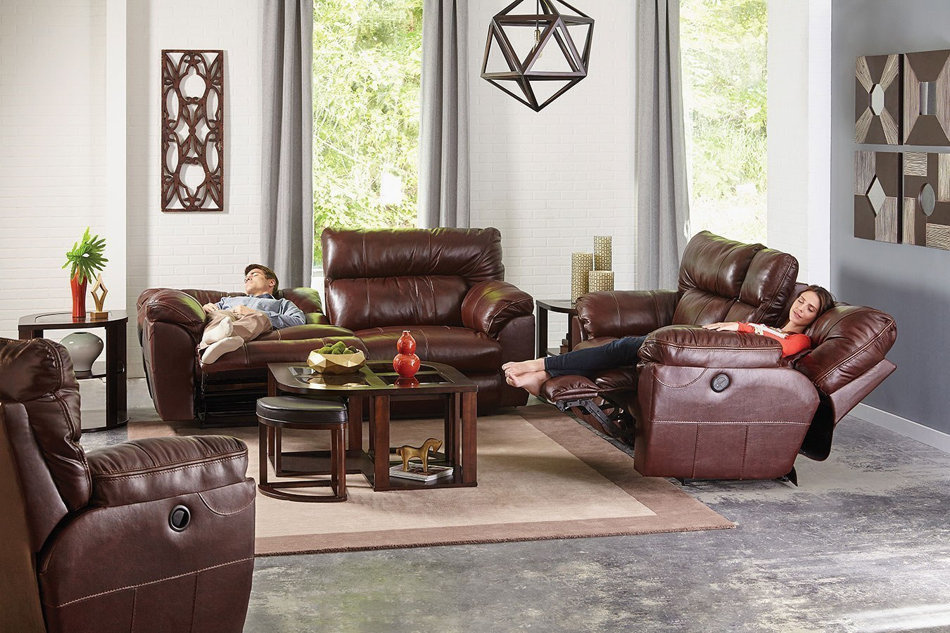 milan power lay flat reclining living room set walnut. Black Bedroom Furniture Sets. Home Design Ideas