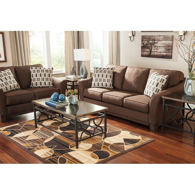 Janley Chocolate Living Room Set BenchCraft | Furniture Cart