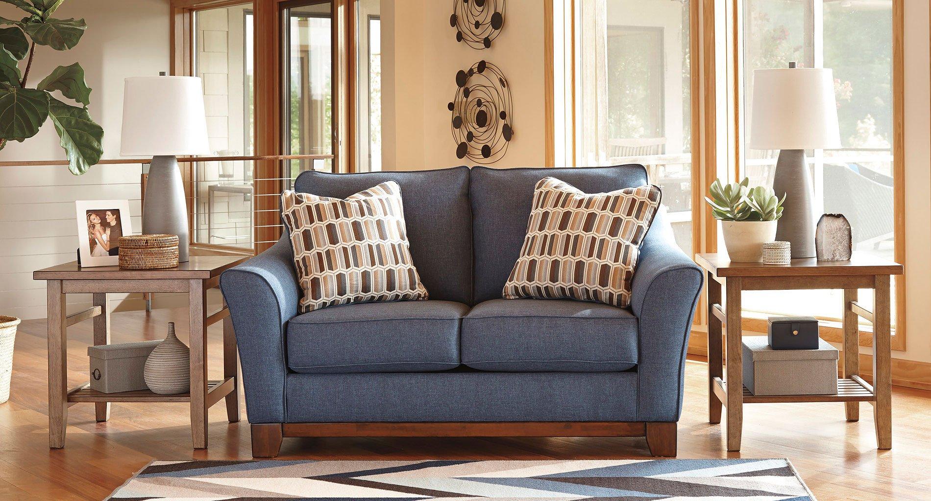 Janley Denim Loveseat Benchcraft Furniture Cart