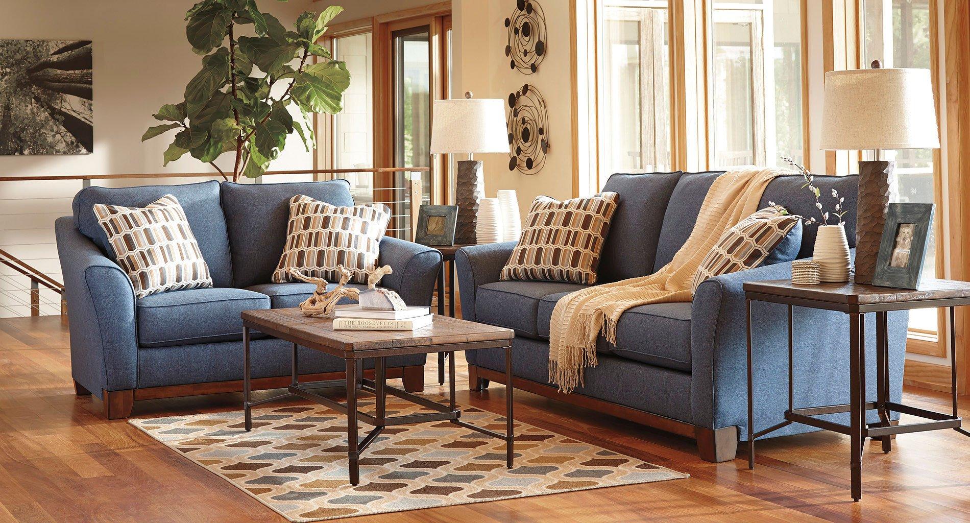Janley Denim Living Room Set Benchcraft Furniture Cart
