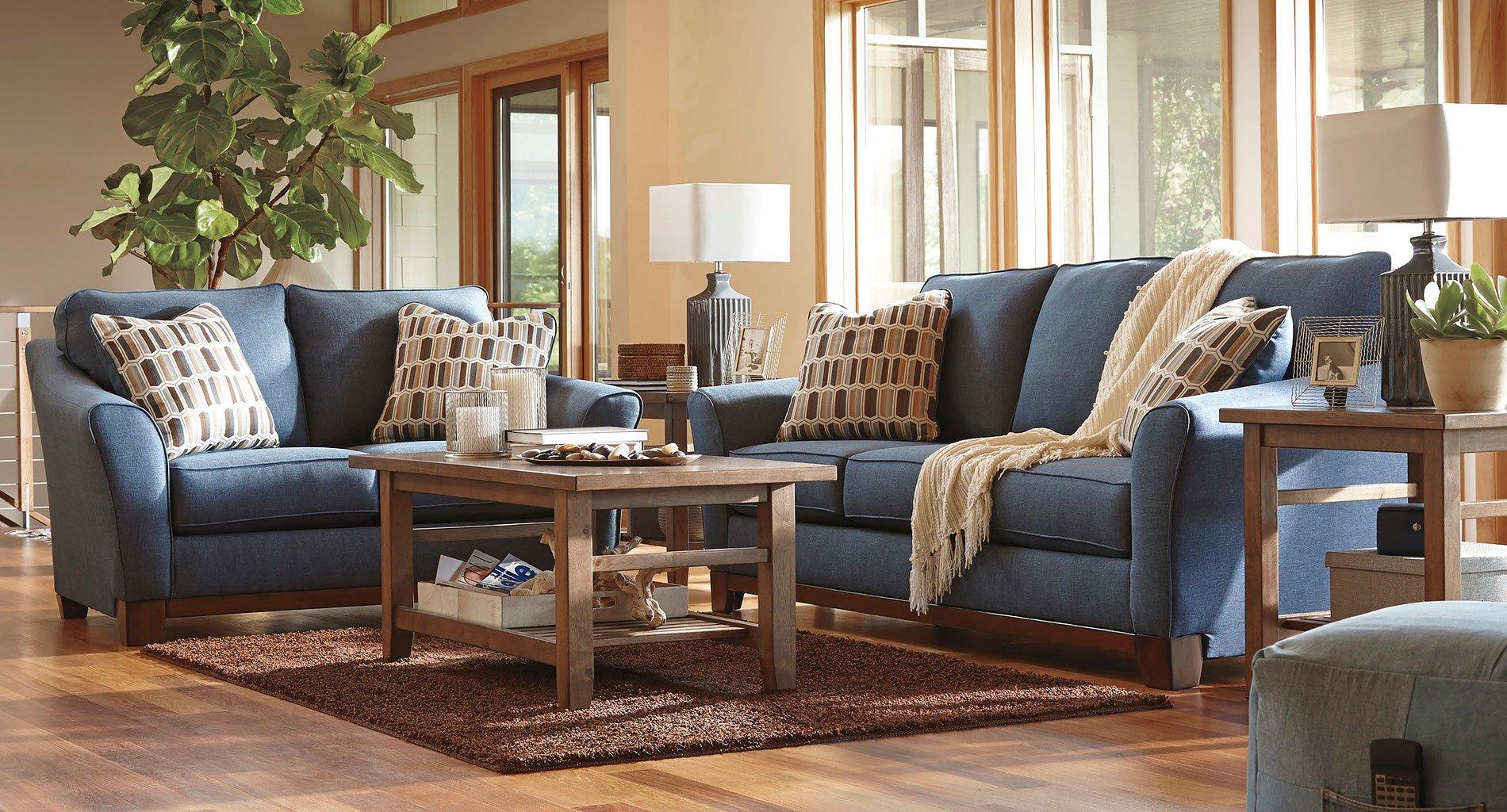 Janley Denim Living Room Set BenchCraft | Furniture Cart