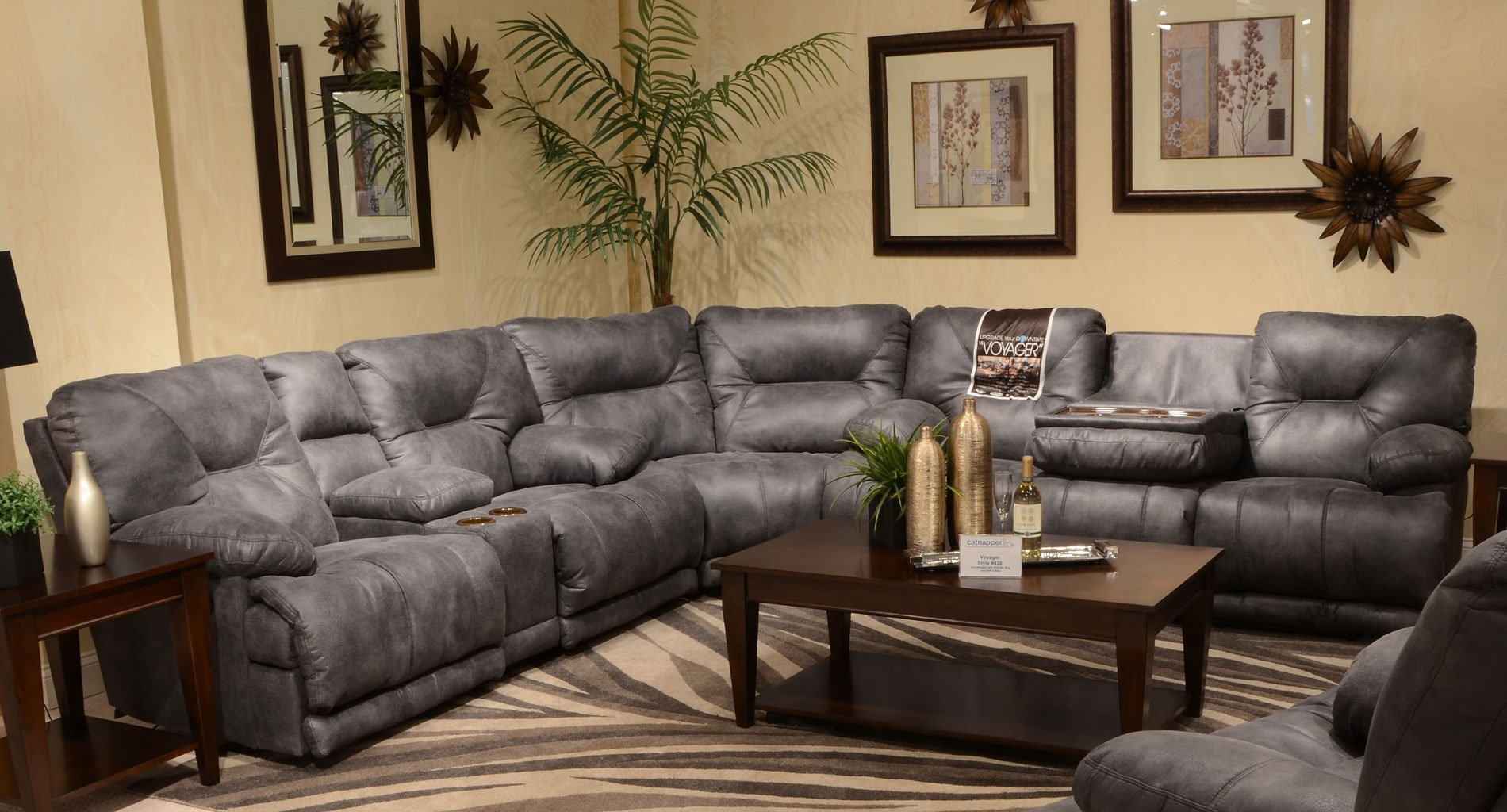 Voyager Reclining Sectional Slate Catnapper Furniture Cart