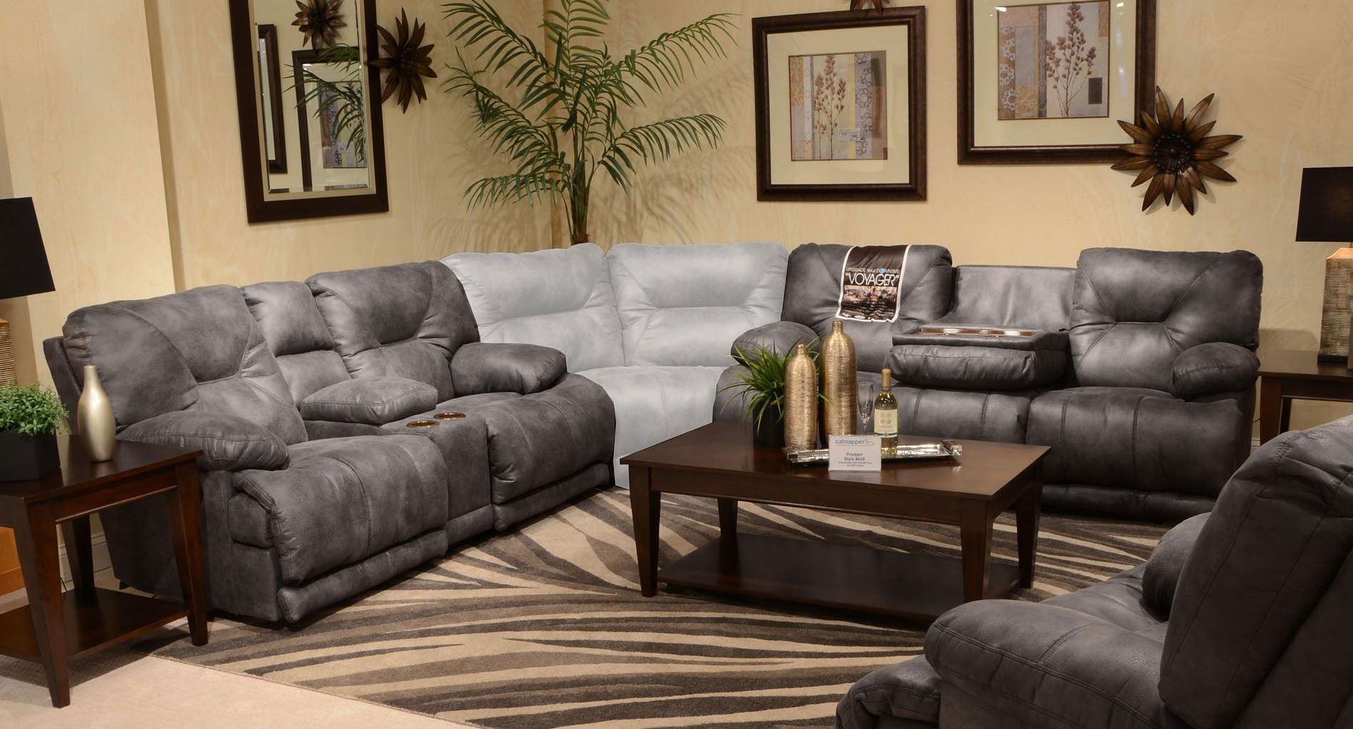 Voyager Reclining Living Room Set Slate Catnapper