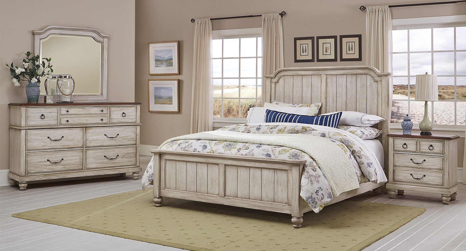 Arrendelle Panel Bedroom Set Rustic White Vaughan Bassett