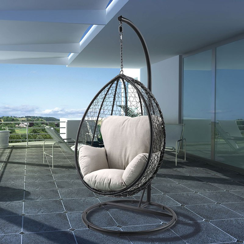 0d4478e6c Simona Patio Swing Chair W  Stand (Beige  Black) Acme Furniture ...