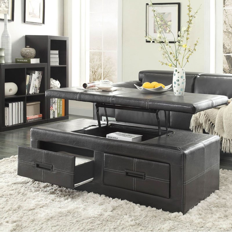 Baine Lift Top Storage Cocktail Ottoman Homelegance