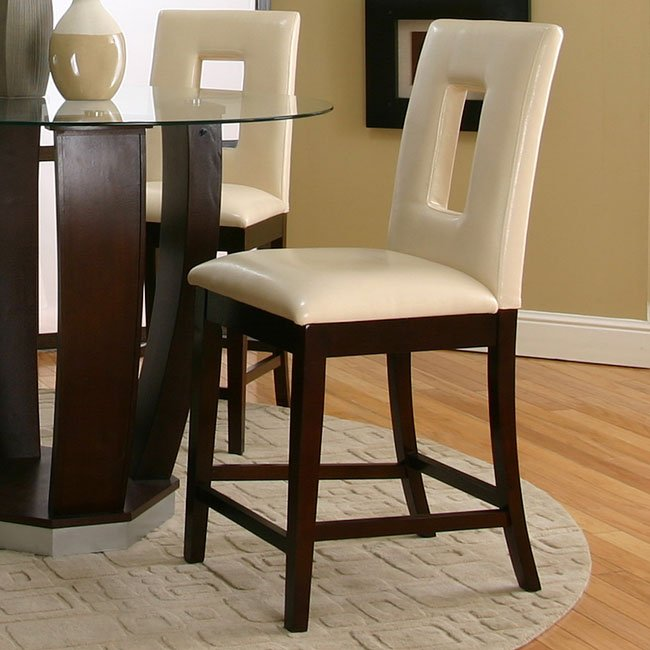 Emerson Counter Height Dinette With Ivory Vinyl Chairs