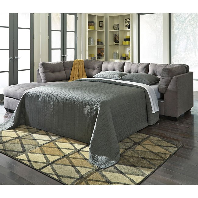 Maier Charcoal Left Chaise Sectional W Sleeper Benchcraft