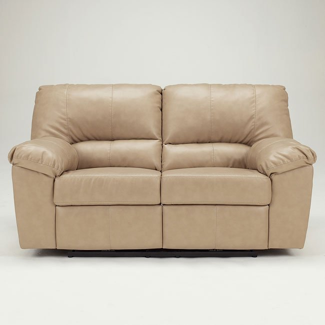 DuraBlend - Natural Reclining Loveseat w/ Power