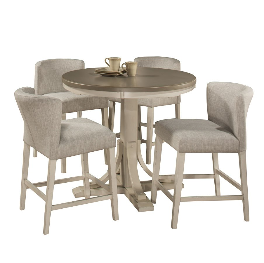 Clarion Round Counter Dining Set W/ Wing Arm Stools (Sea White)