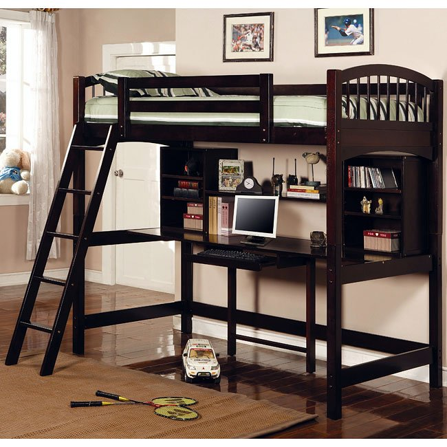 Workstation Twin Bunk Bed (Cappuccino)