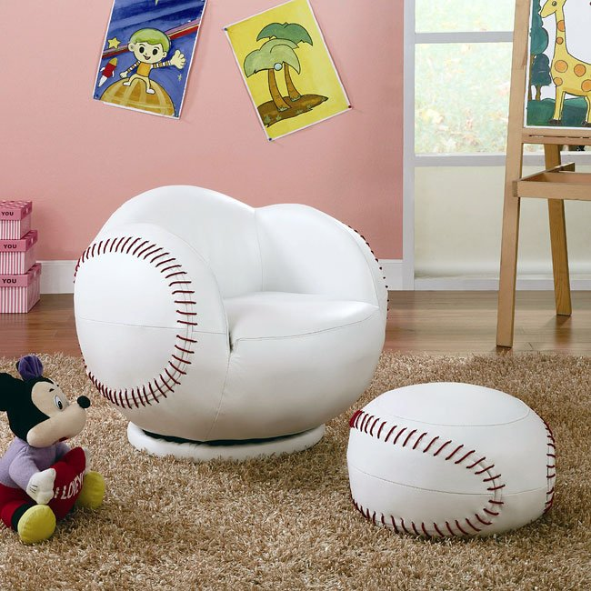 Small Chair With Ottoman: Small Baseball Chair With Ottoman Coaster Furniture, 1