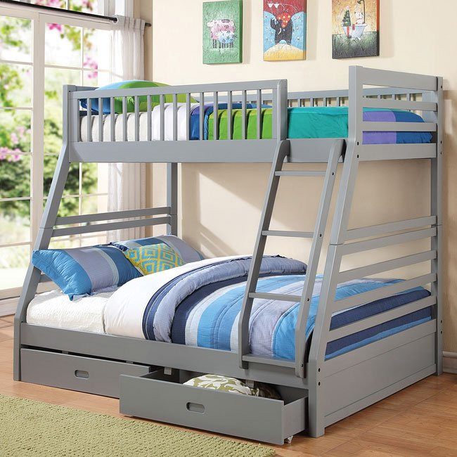 Cooper Twin/ Full Bunk Bed (Grey)