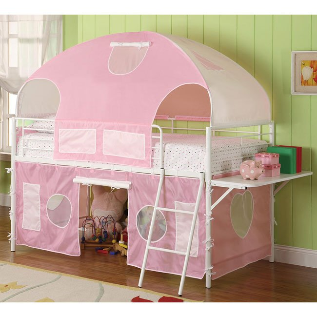 Girls White and Pink Tent Bunk Bed