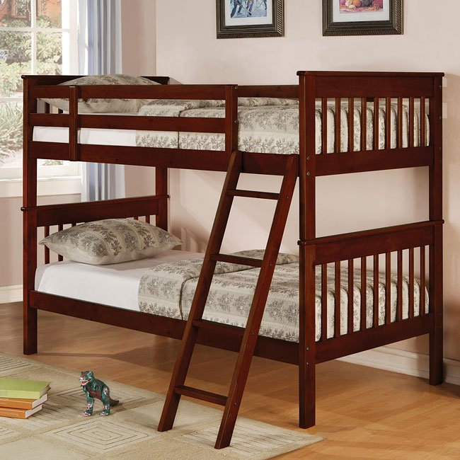 Parker Slat Twin over Twin Bunk Bed (Cappuccino)