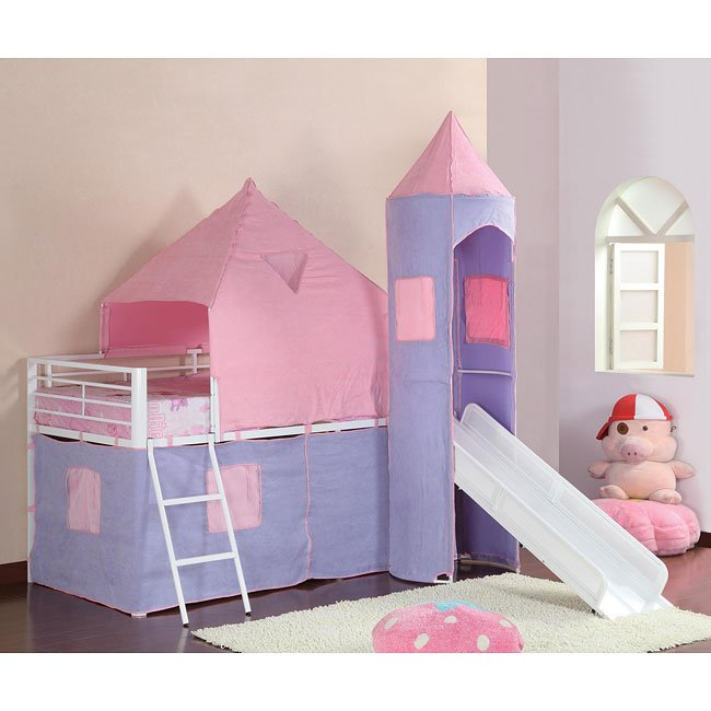 Girls Castle Pink and Purple Loft Bed