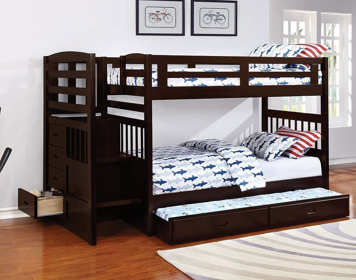 Dublin Twin Over Twin Bunk Bed W Trundle Coaster