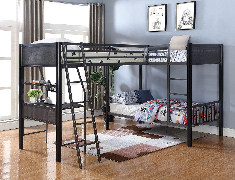 Meyers Twin Bunk Bed W Loft Add On Coaster Furniture