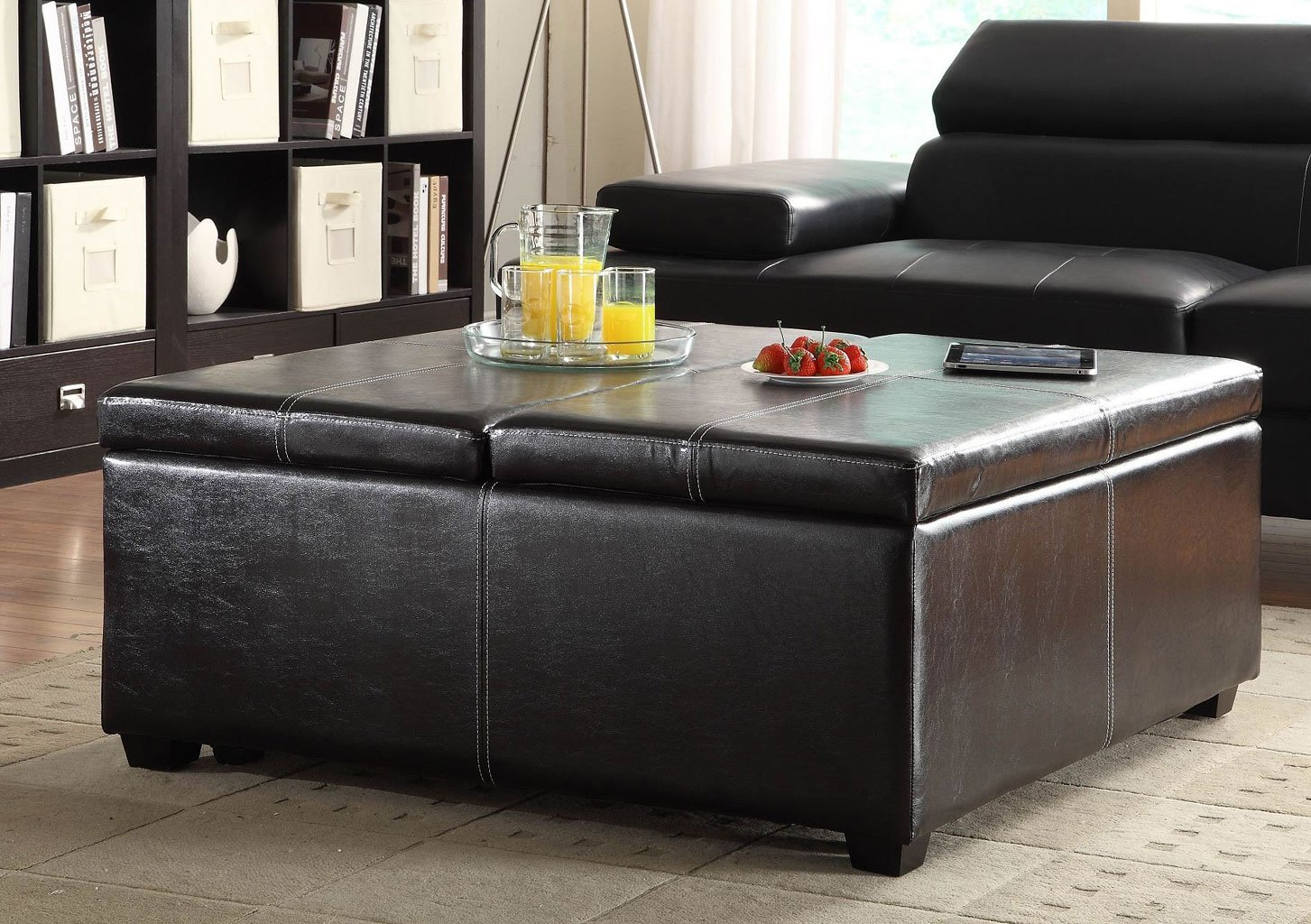 Synergy Lift Top Storage Cocktail Ottoman Homelegance