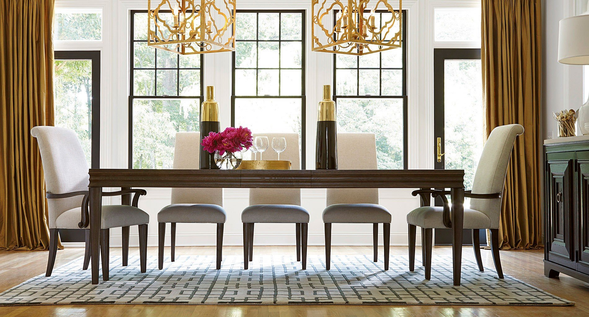 California Dining Room Set W/ Upholstered Chairs (Hollywood Hills)