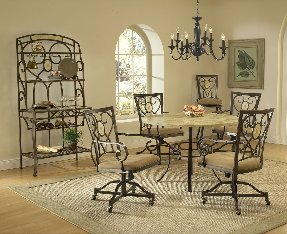 Brookside Round Dining Room Set W Caster Chairs Hillsdale